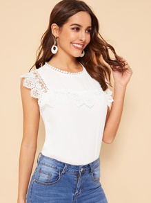 Buttoned Back Guipure Lace Yoke Top