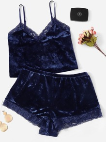 Plus Contrast Lace Velvet Tank Top With Shorts