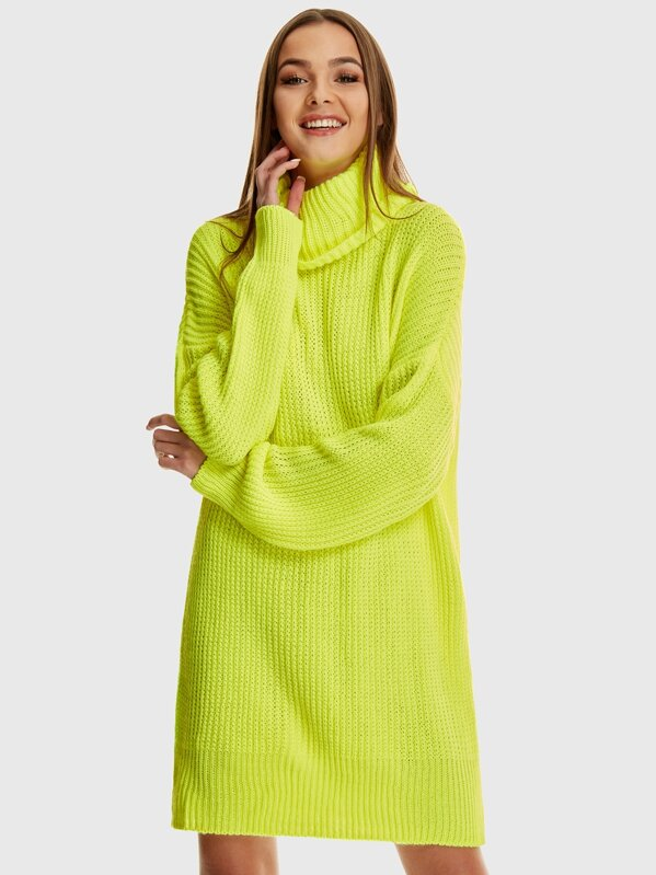 14471c49d42 Neon Cowl Neck Knitted Jumper Dress
