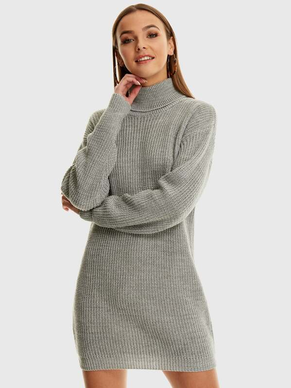 39d39c22a5a Roll Neck Knitted Jumper Dress