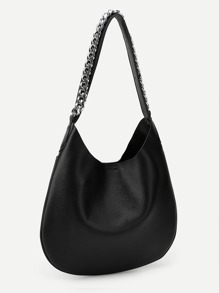 Pebble Detail Chain Tote Bag With Inner Clutch