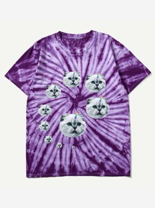 Men Tie Dye Cat Print Tee