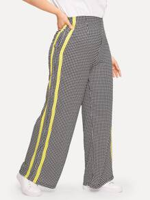 Plus Contrast Taped Houndstooth Wide Leg Pants