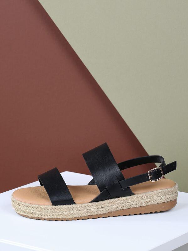 3fc3d133da2 Two Band Buckle Heel Strap Jute Platform Sandals
