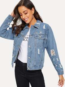 Ripped Ring Decoration Denim Jacket