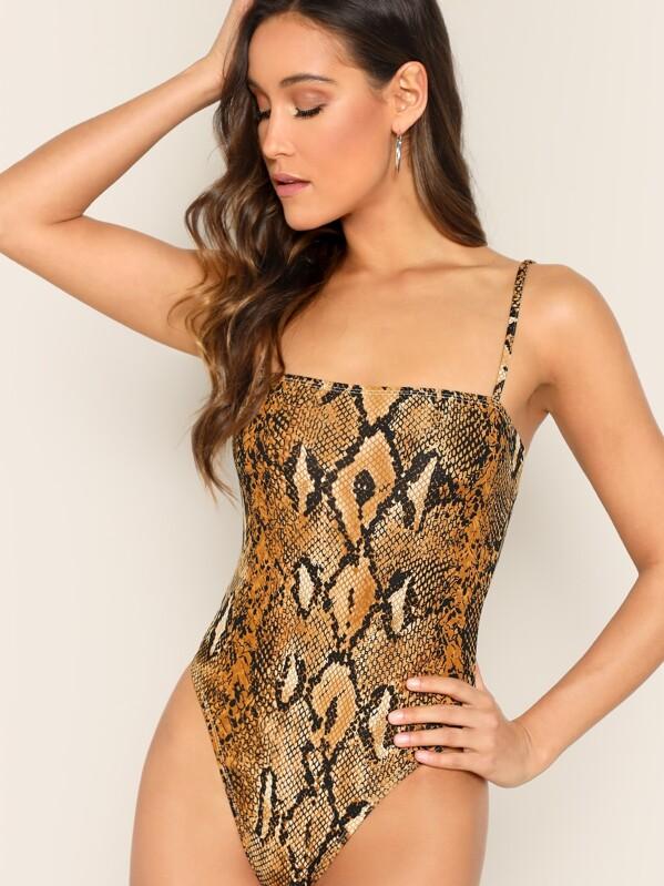 Snakeskin Print Bodysuit by Shein