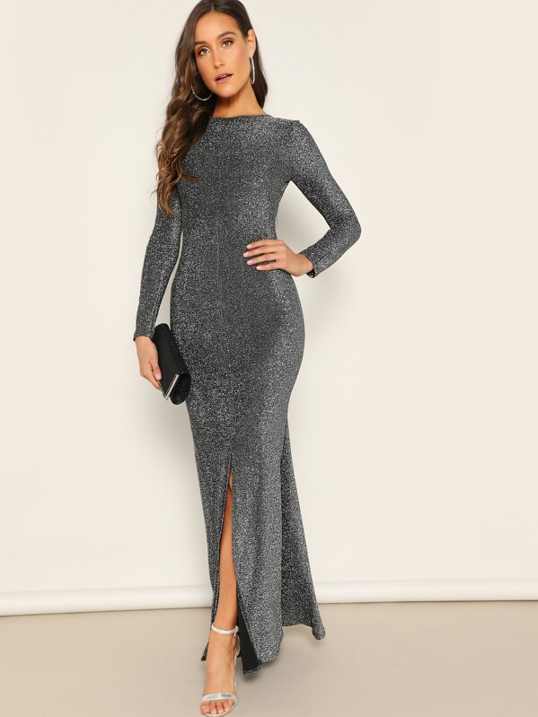 5da9d31ce9 Open Back Split Glitter Mermaid Prom Dress | SHEIN UK