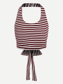 Knot Back Halter Striped Top