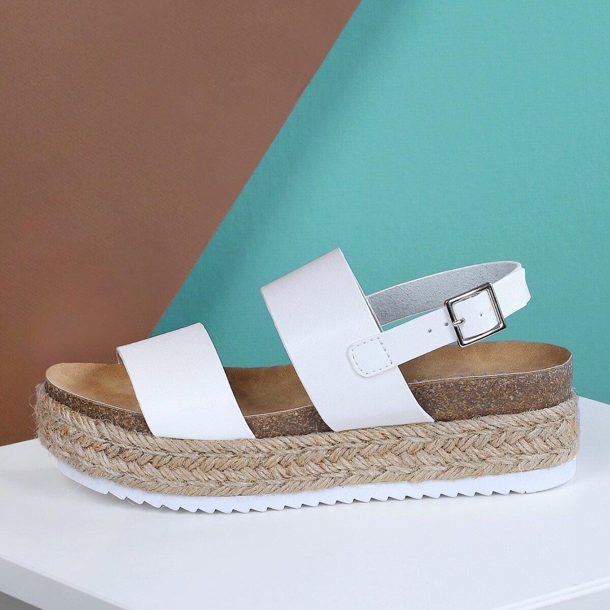 Двойная лента Sling Back Espadrille Trim Flatform Sandal WHITE