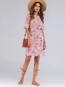 Floral Print Knot Side Zip Back Dress