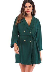 Double-breasted Self-tie Wrap Dress