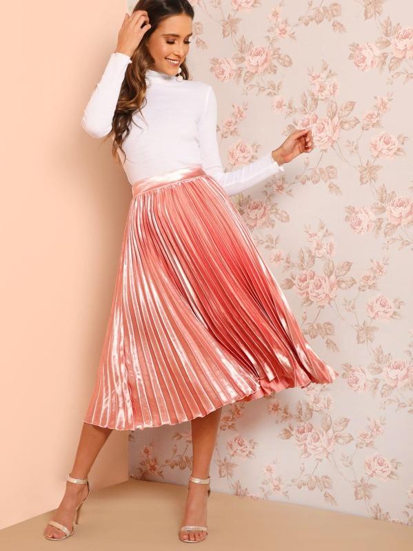cf9363bec9 Elastic Waist Solid Pleated Skirt   SHEIN