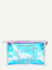 Letter Pattern Laser Makeup Bag