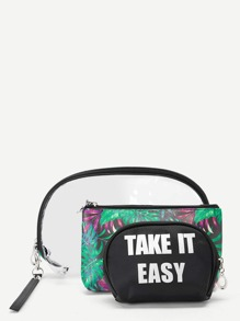Letter & Palm Pattern Makeup Bag 3pack