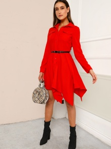 Hanky Hem Belted Utility Shirt Dress