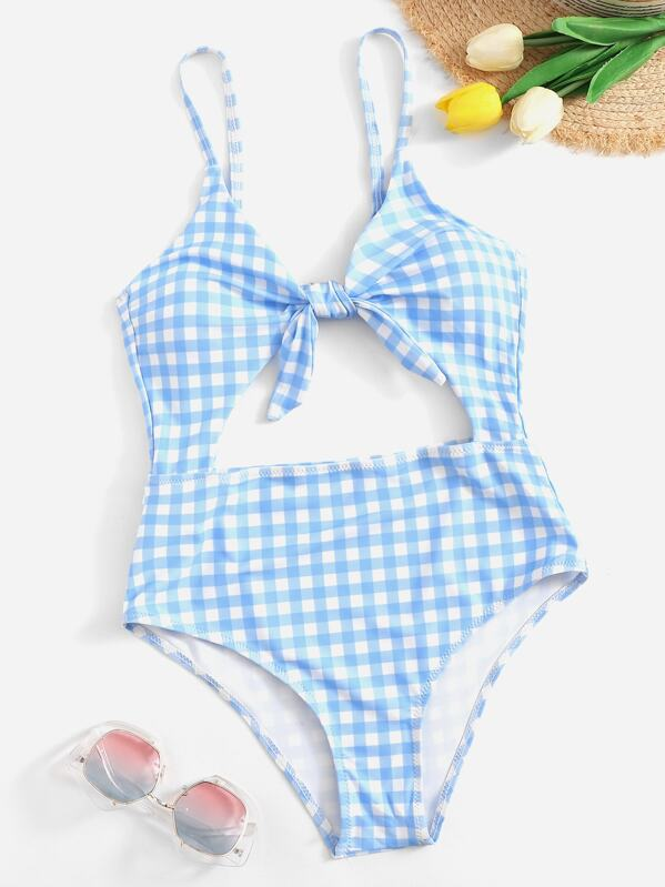 16580a8f404 Gingham Cut-out Knot One Piece Swimsuit | SHEIN