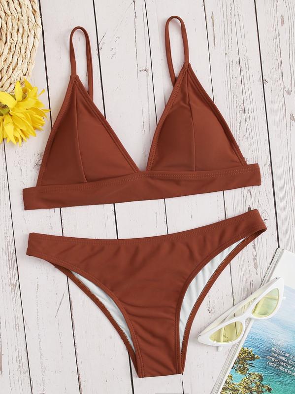 e14c213a646b Top de costura triangular con conjunto de bikini panty