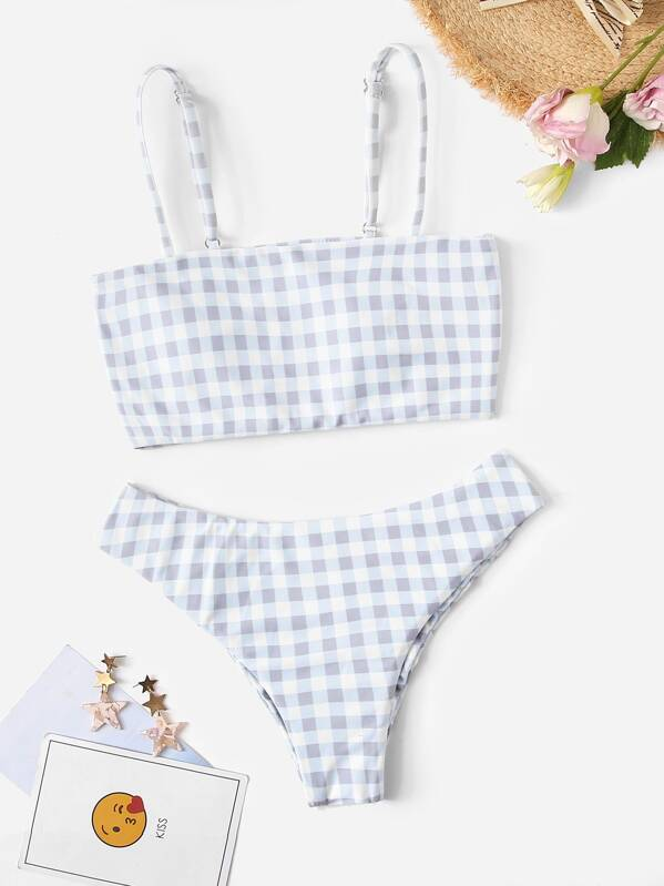 bbcf8f2e7b215 Gingham Spaghetti Strap Top With Ruched Bikini | SHEIN
