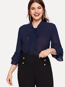 Plus Solid Tie Neck Blouse