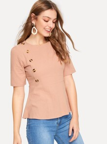 Button Through Ruffle Hem Blouse