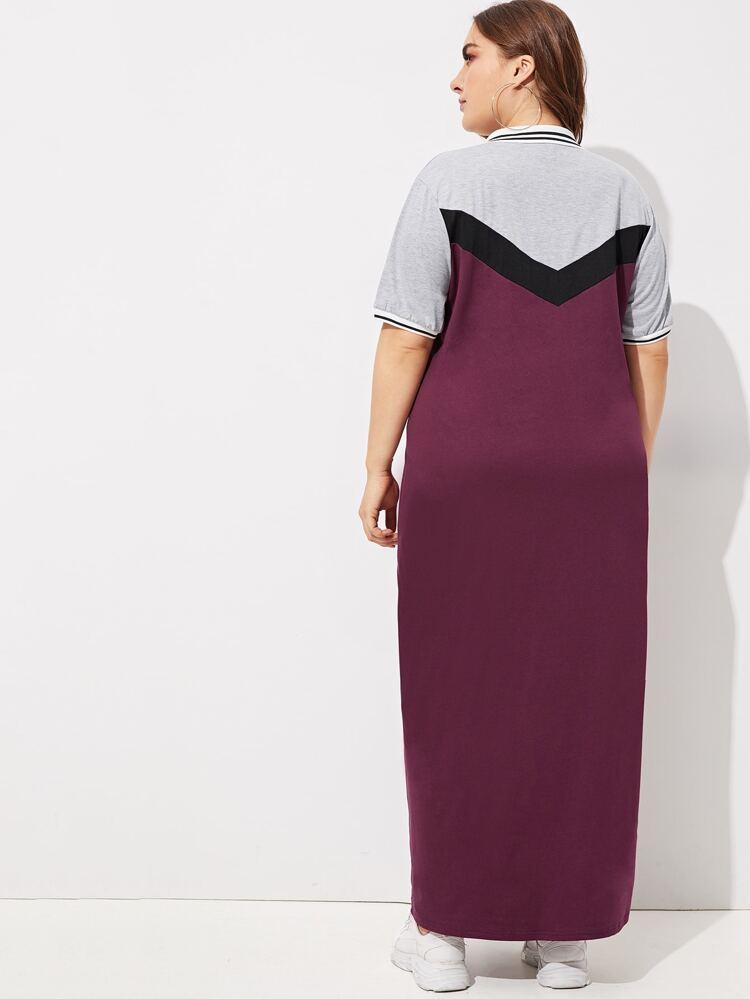 Plus Color Block Longline Polo Dress   SHEIN
