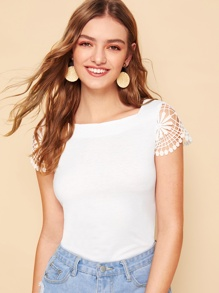 Guipure Lace Sleeve Top