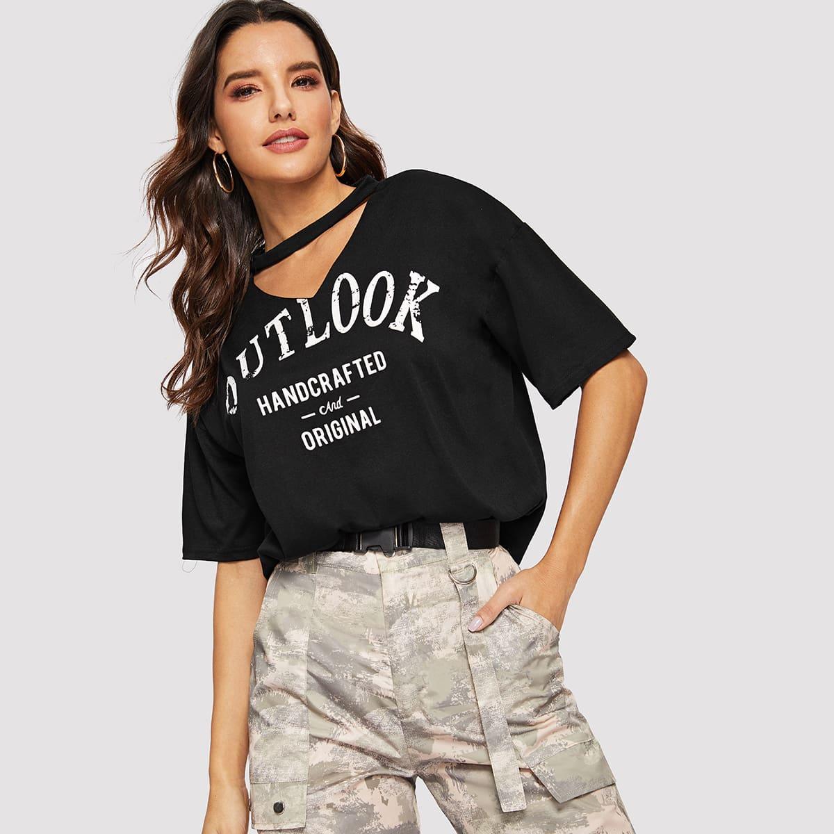 Zwart Casual Tekst T-shirts Uitgeknipt