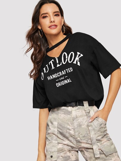 V-cut Neck Letter Graphic Boxy Tee