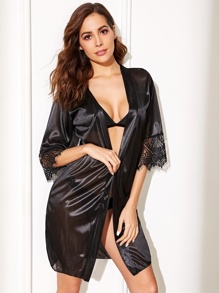 Floral Lace Self Belted Satin Robe With Thong
