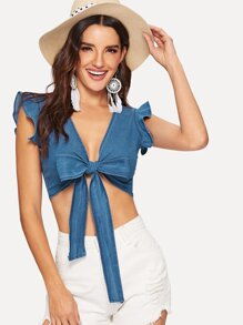 Cap Ruffle Sleeve Knot Crop Denim Tops