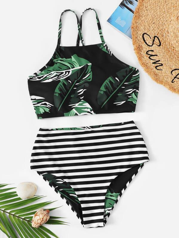 8efc0ad678 Random Leaf Lace-up Top With Striped Bikini Set | SHEIN