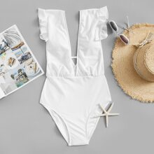 Ruffle Ruched Plunge One Piece Swimsuit