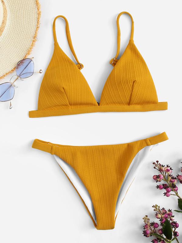 eb63da17a14d3f Cheap Ribbed Triangle Top With Tanga Bikini for sale Australia | SHEIN