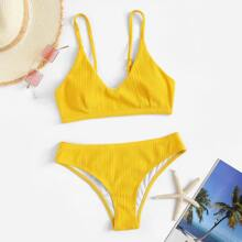 Ribbed Seam Top With Panty Bikini Set