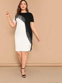Plus Fringe Front Two Tone Pencil Dress