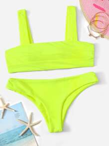 Neon Lime Square Neck Top With Cheeky Bikini