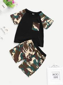 Toddler Boys Contrast Camo Print Tee With Shorts