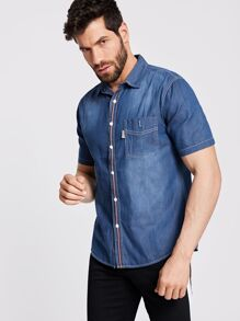 Men Pocket Front Denim Shirt