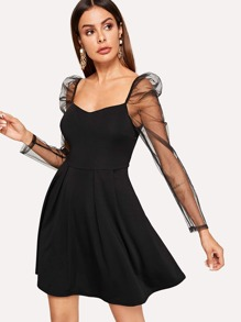 Contrast Mesh Puff Cuff Dress