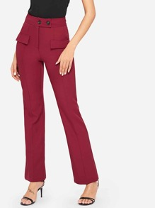Double Button Straight Leg Pants