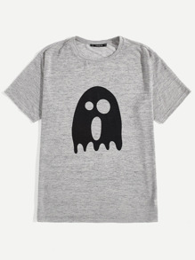Men Ghost Cartoon Print Tee