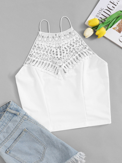 Contrast Crochet Cami Top