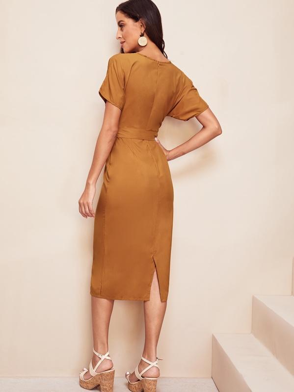 69a04d5bf3ab Tie Waist Split Back Pencil Dress | SHEIN