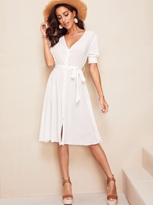 Button Through Shirred Sleeve Belted Dress