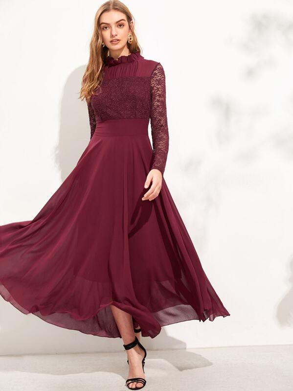 029adcb9ea Cheap Frill Neck Lace Top Flowy Maxi Dress for sale Australia | SHEIN