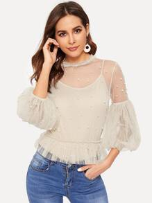 Beaded Decoration Mesh Blouse With Cami Top