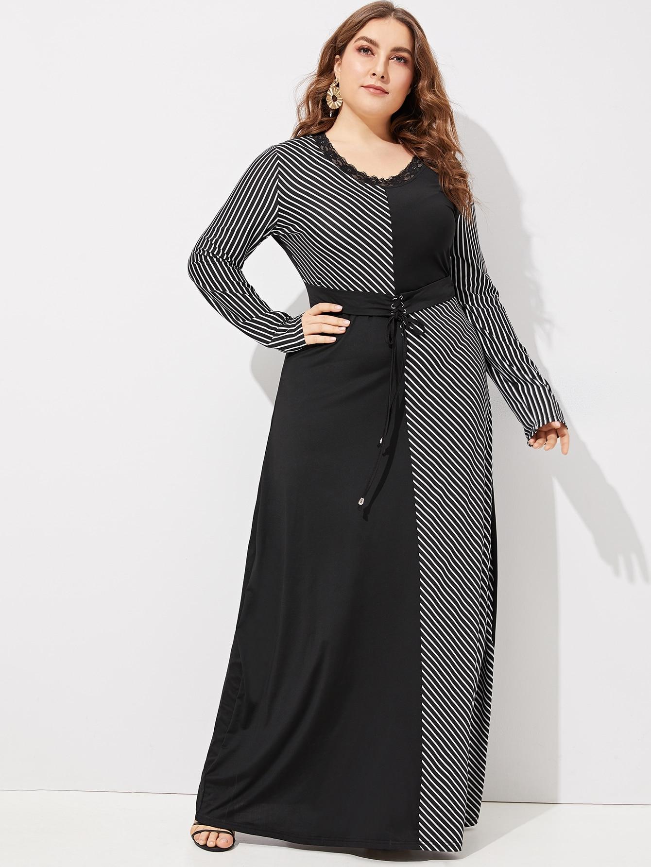 Plus Striped Panel Corset Dress
