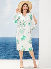 Plus Tropical Print V-neck Split Sleeve Dress