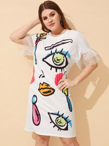 Plus Cartoon Print Dress