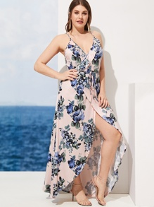 Plus Floral Print Tie Waist Tulip Hem Cami Dress